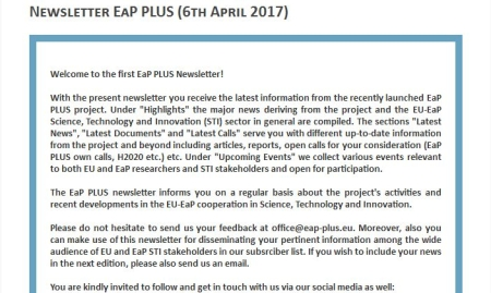 EaP PLUS launched its first newsletter!